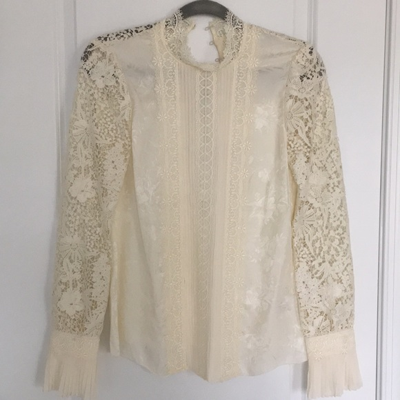 6bec46ed280d68 NWT h m erdem lace silk blouse